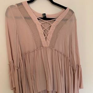 Boho light pink long sleeve top NWOT